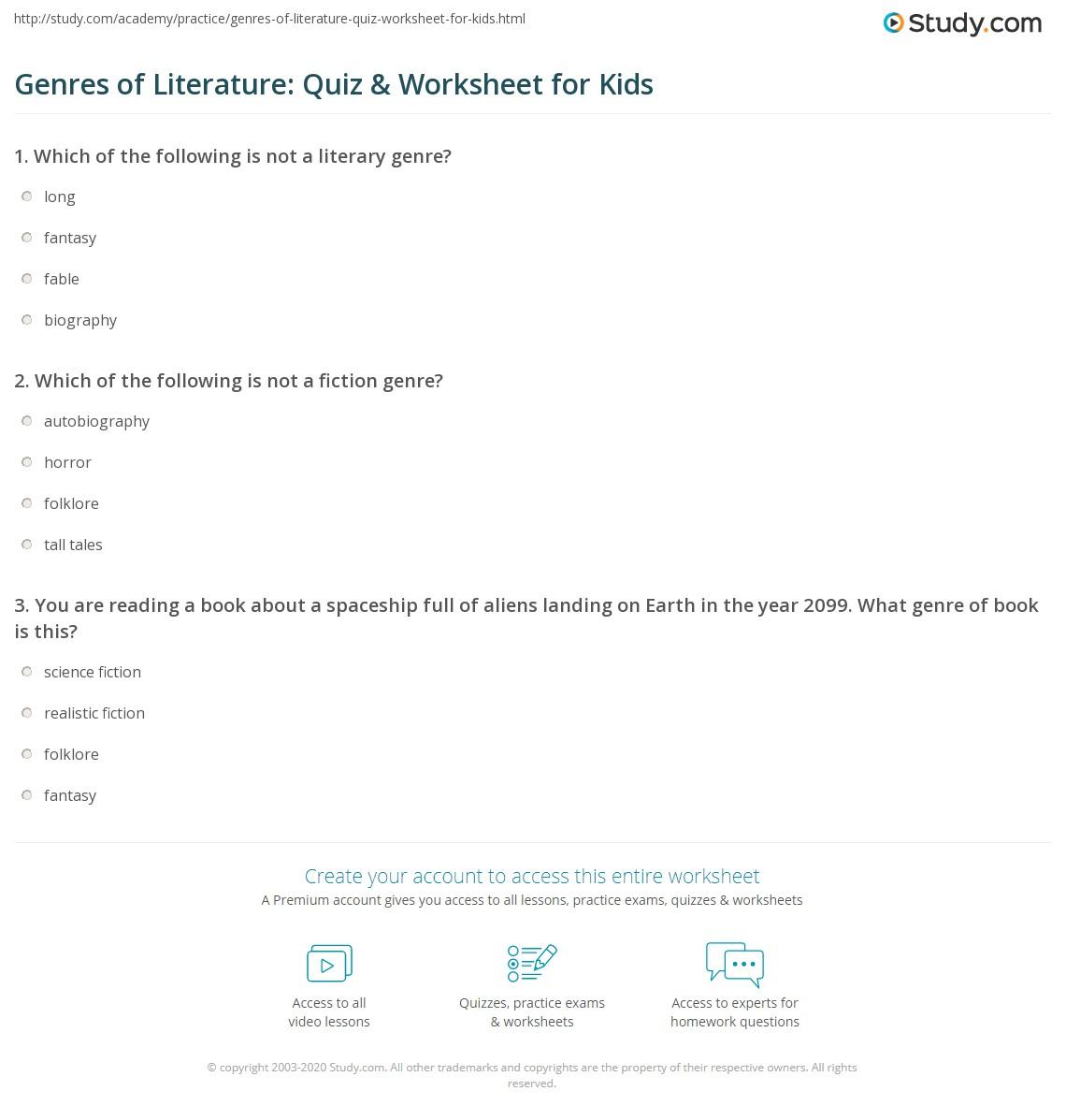 Genres Of Literature Quiz Amp Worksheet For Kids
