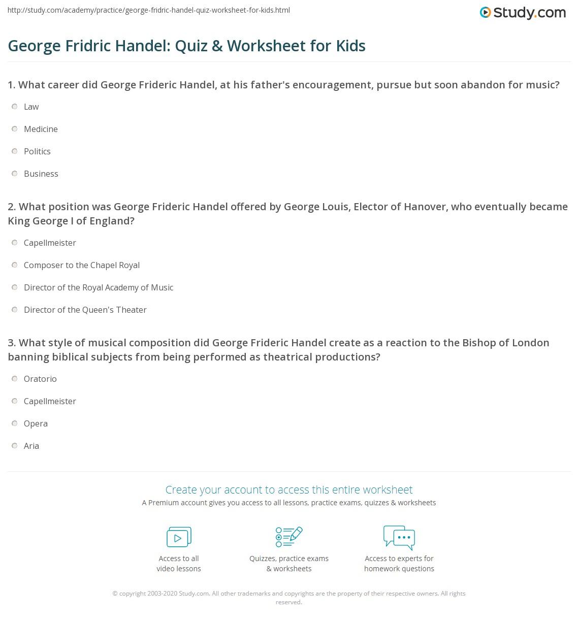 George Fridric Handel Quiz Amp Worksheet For Kids