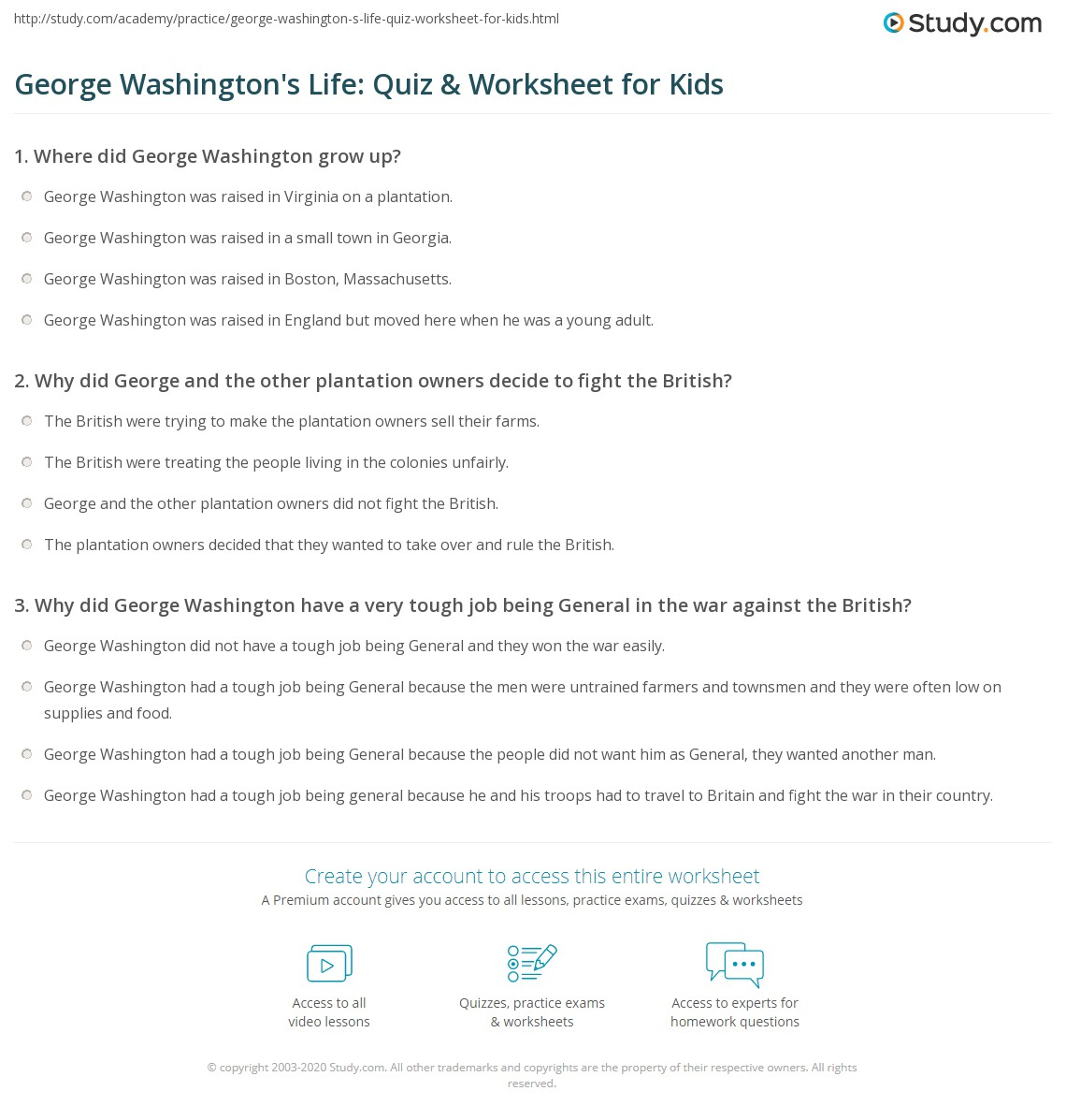 George Washington S Life Quiz Amp Worksheet For Kids