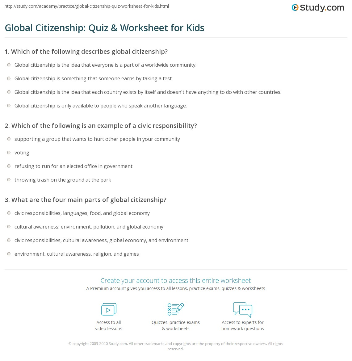 Global Citizenship Quiz Amp Worksheet For Kids