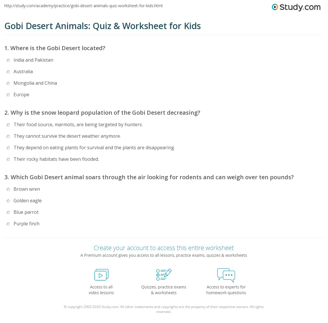 Gobi Desert Animals Quiz Amp Worksheet For Kids