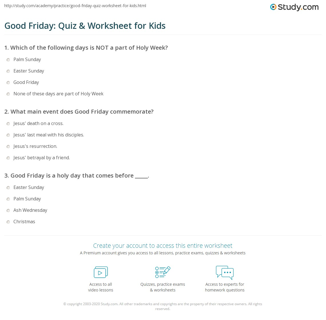 Good Friday Quiz Amp Worksheet For Kids