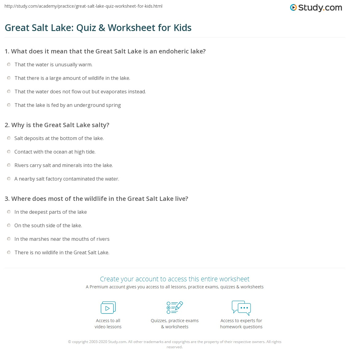 Great Salt Lake Quiz Amp Worksheet For Kids