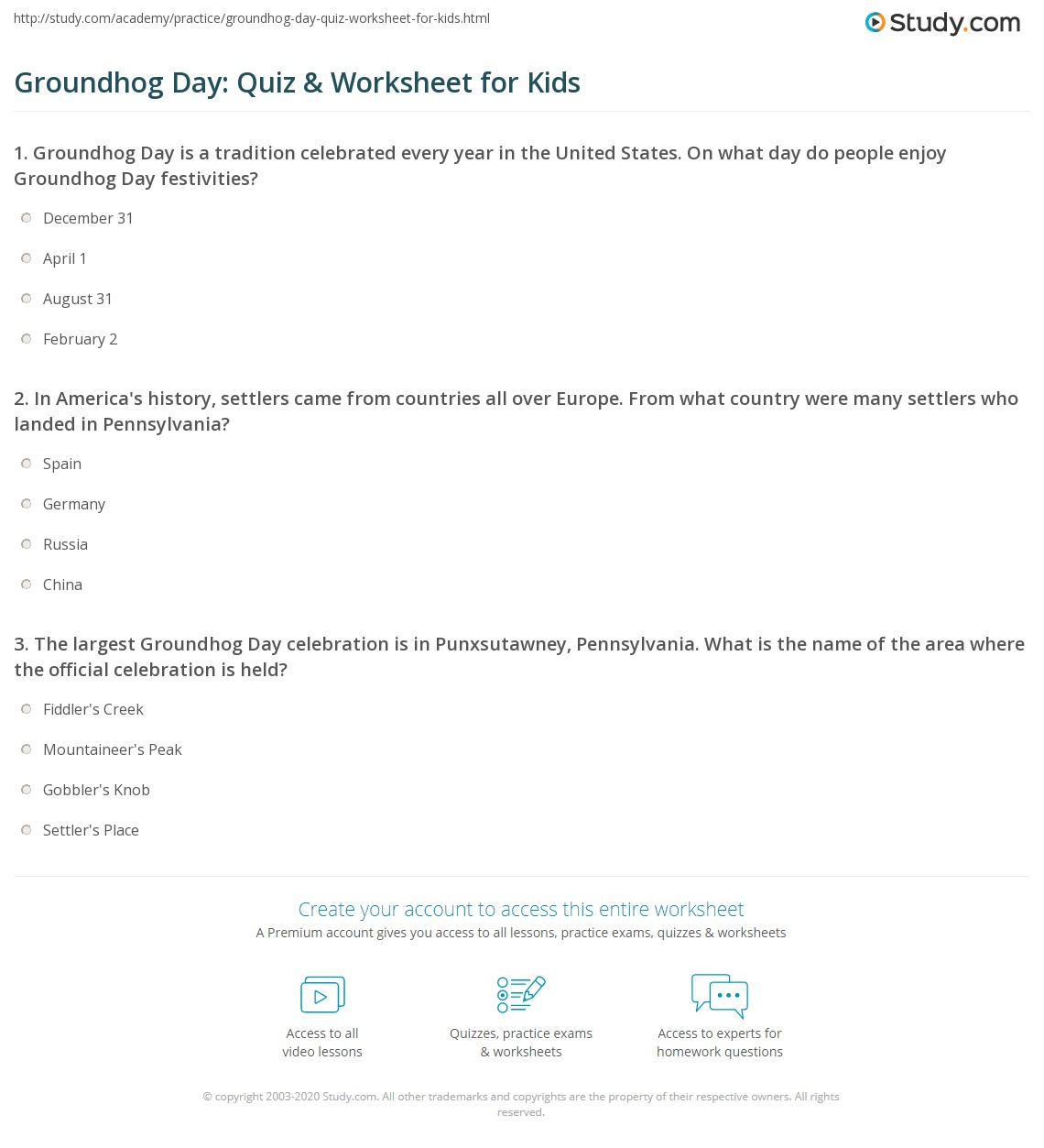 Groundhog D Y Quiz W Ksheet Kids Study
