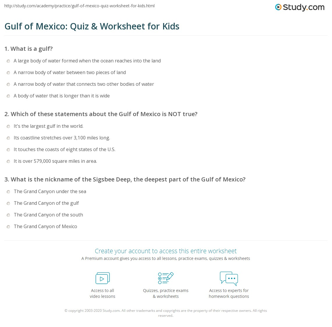 Gulf Of Mexico Quiz Amp Worksheet For Kids