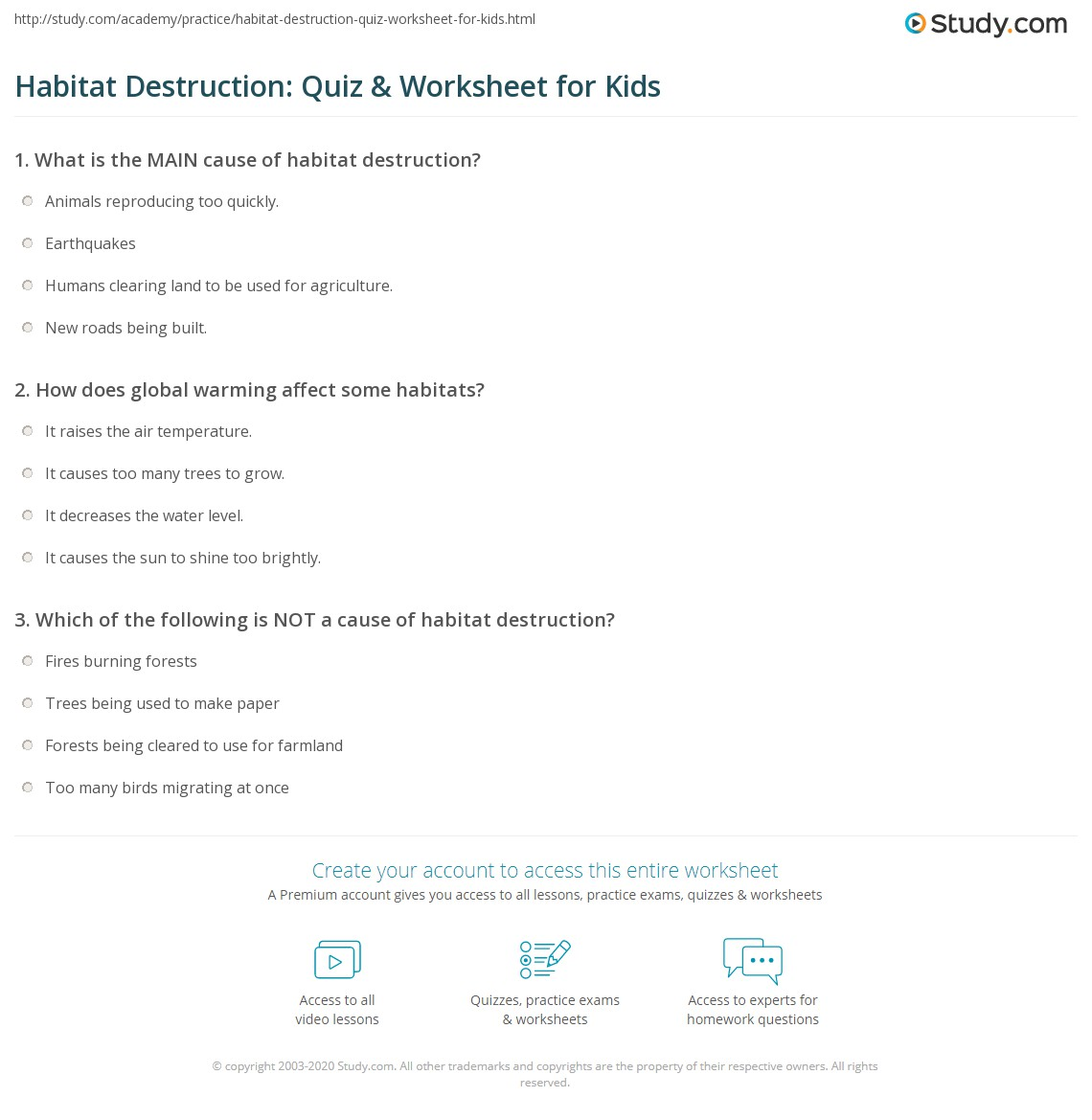 Habitat Destruction Quiz Amp Worksheet For Kids
