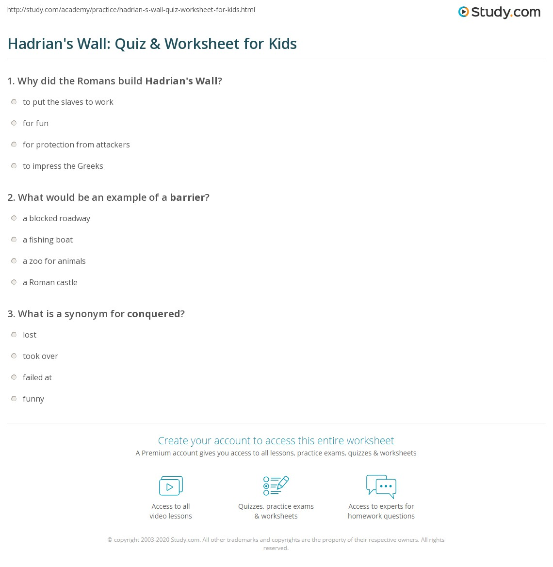 Hadrian S Wall Quiz Amp Worksheet For Kids
