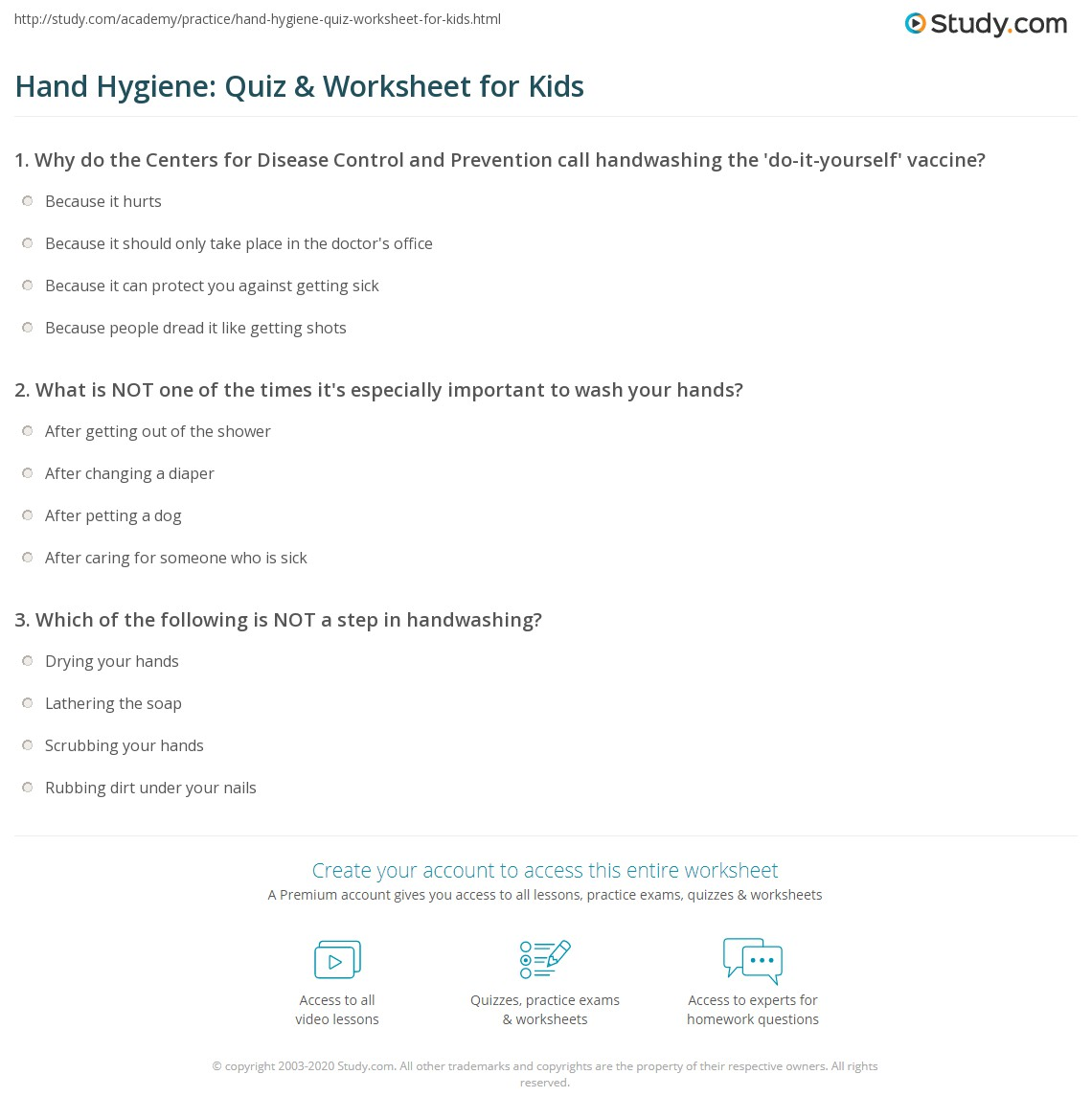 Hand Hygiene Quiz Amp Worksheet For Kids