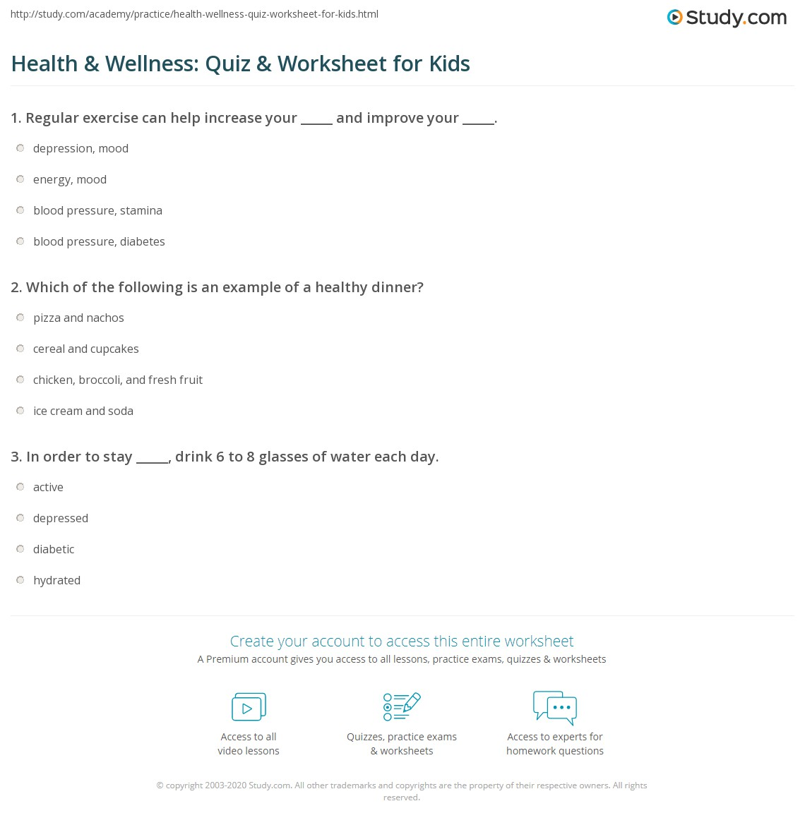 Health Amp Wellness Quiz Amp Worksheet For Kids