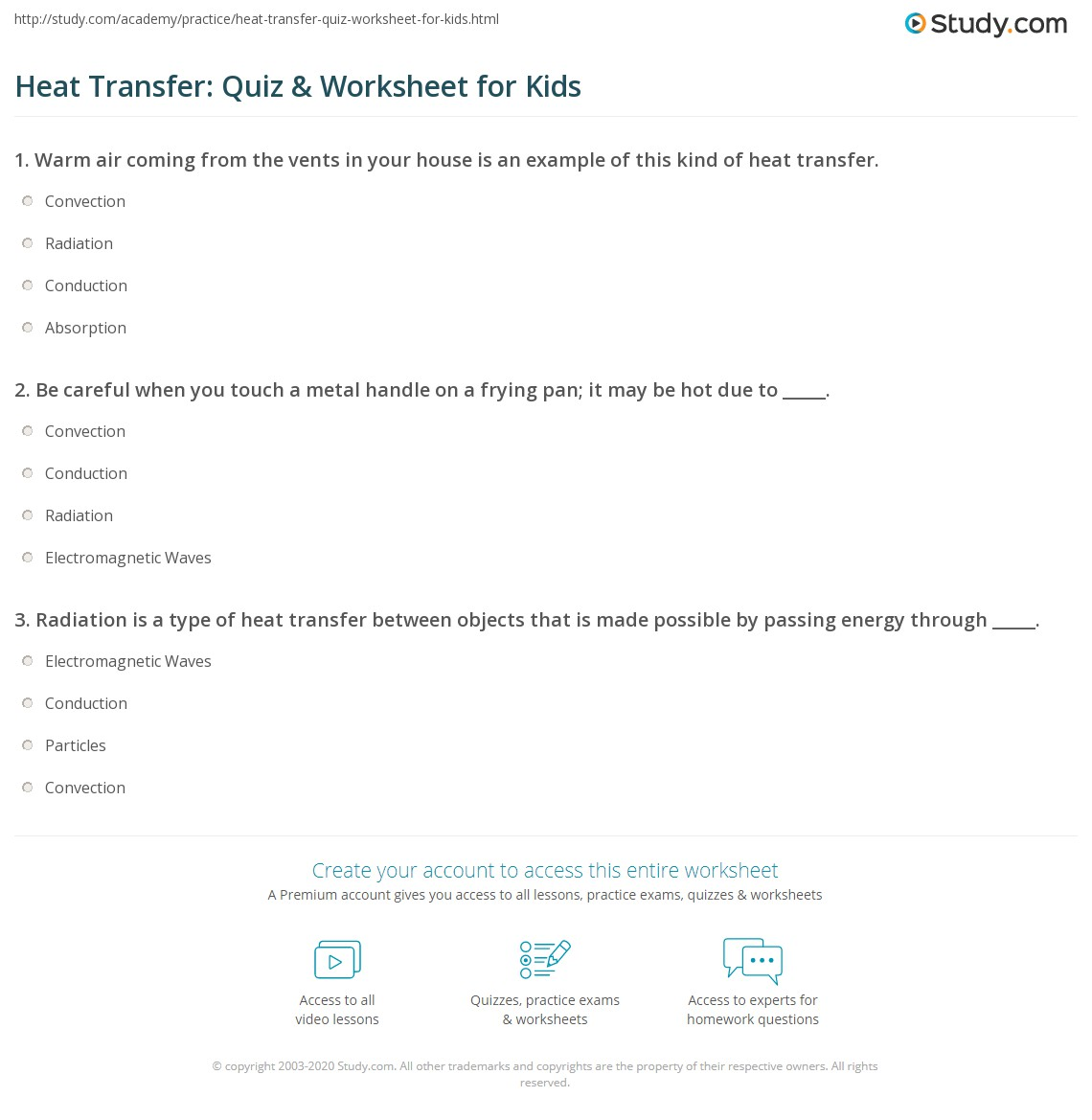 Heat Transfer Quiz Amp Worksheet For Kids
