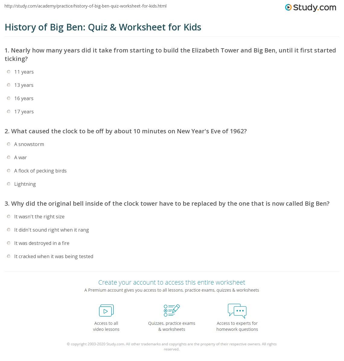 History Of Big Ben Quiz Amp Worksheet For Kids