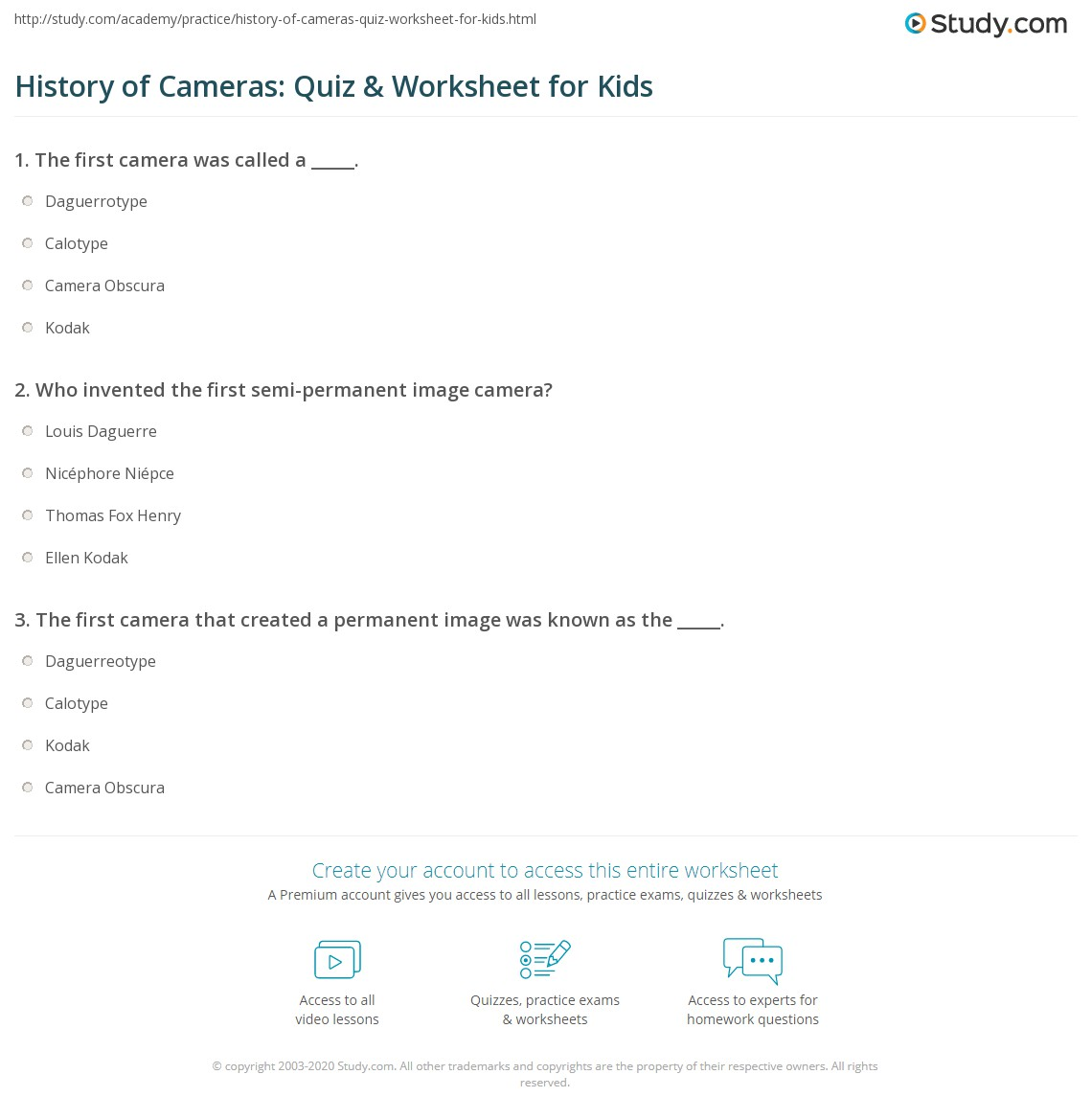 History Of Cameras Quiz Amp Worksheet For Kids
