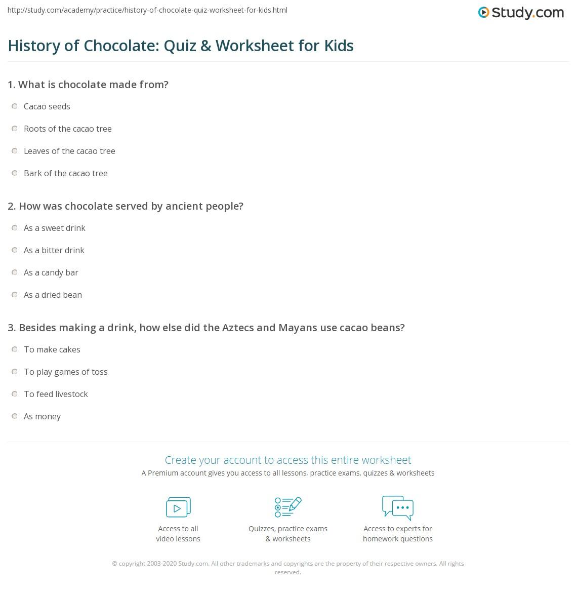 History Of Chocolate Quiz Amp Worksheet For Kids