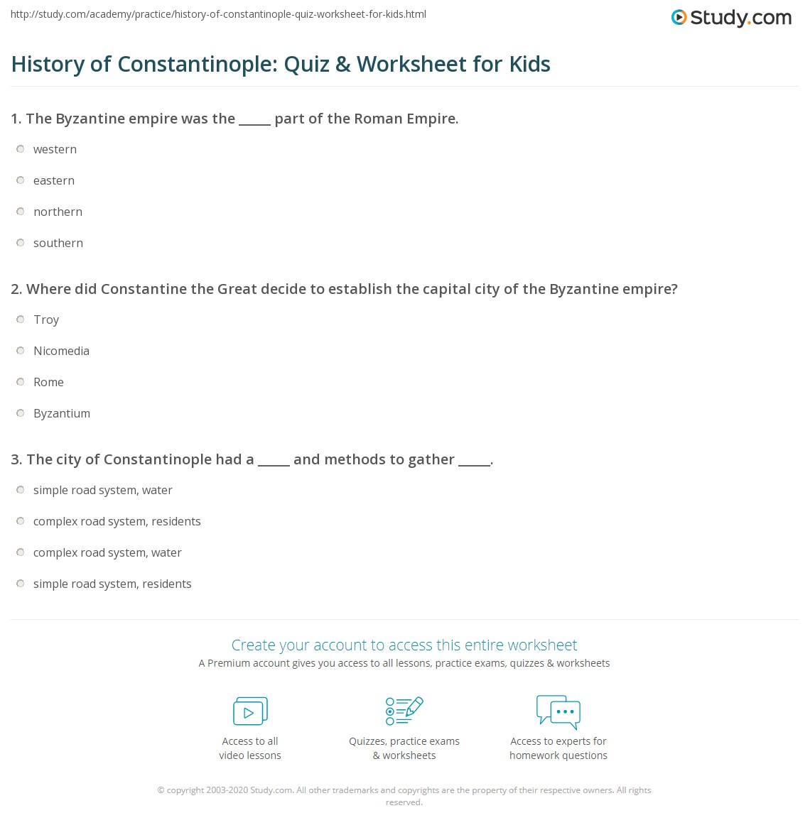 History Of Constantinople Quiz Amp Worksheet For Kids