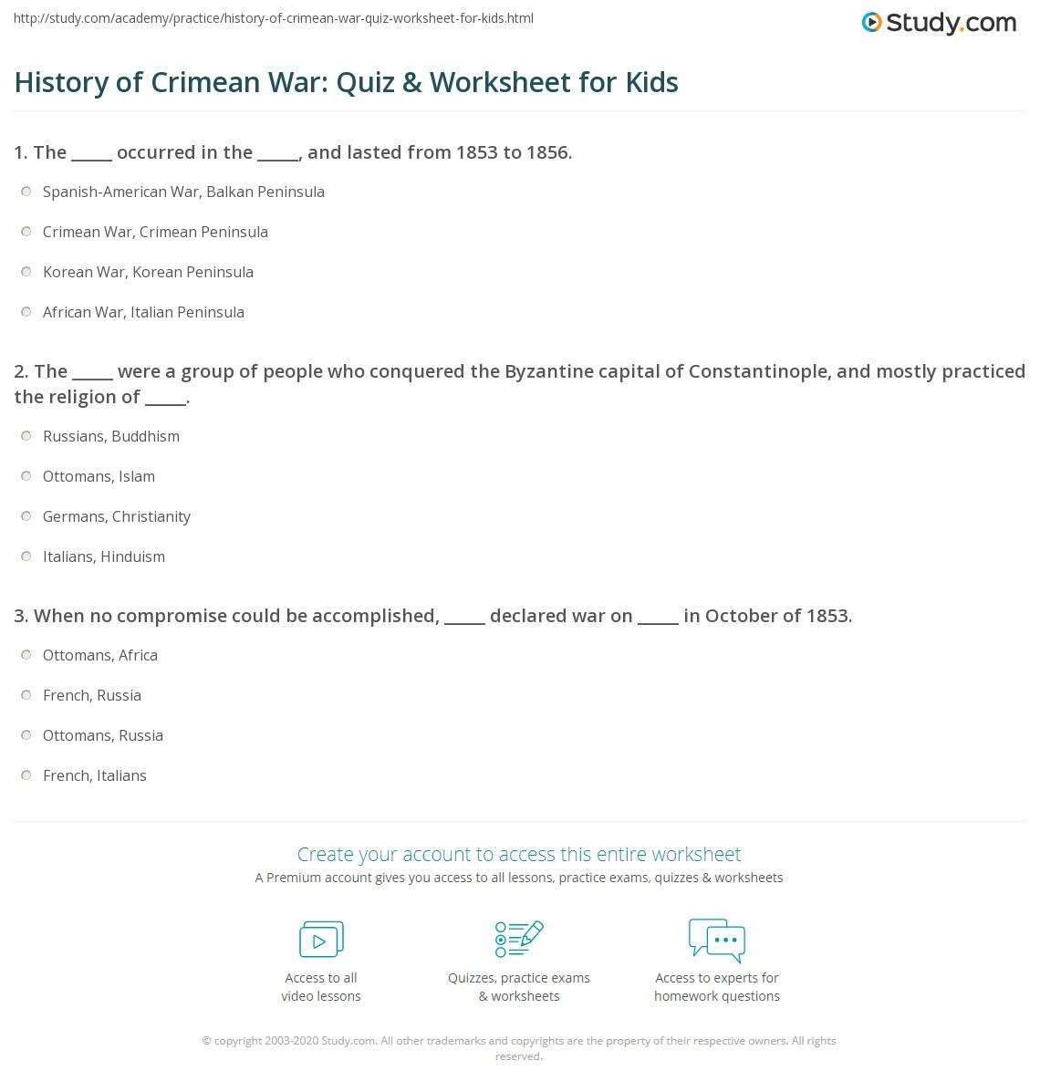 History Of Crimean War Quiz Amp Worksheet For Kids