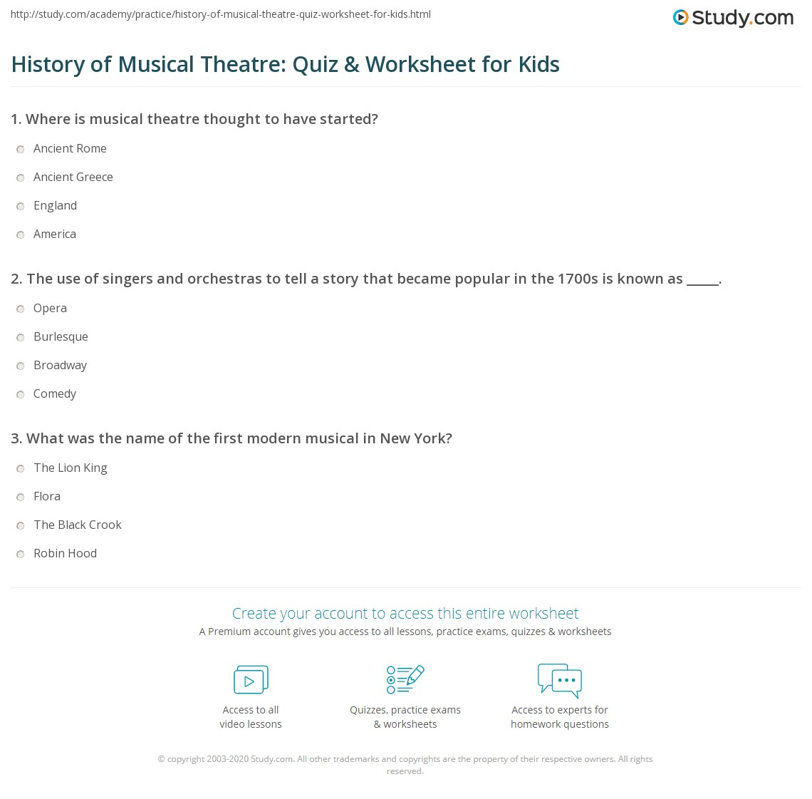History Of Musical Theatre Quiz Amp Worksheet For Kids