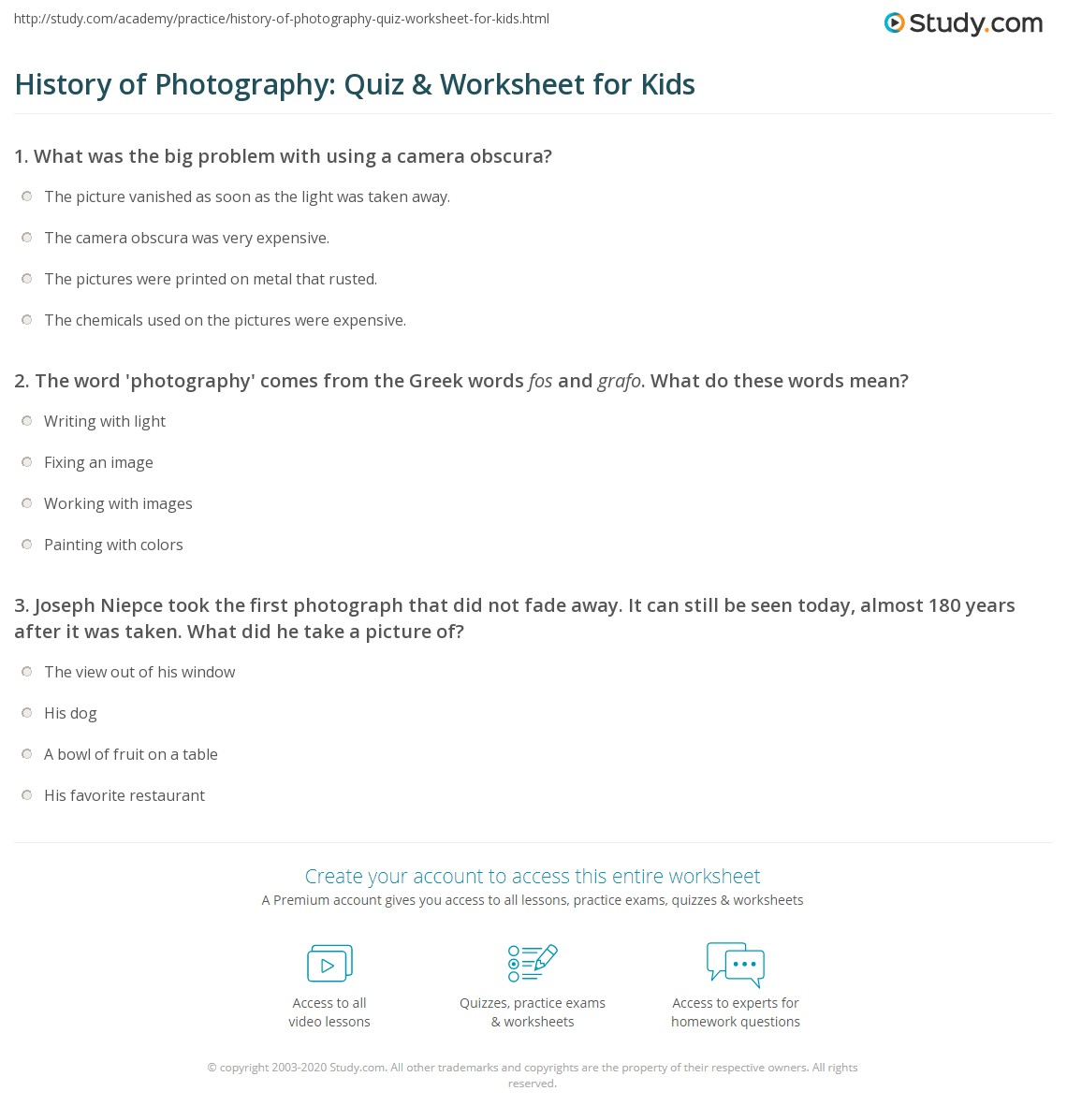 History Of Photography Quiz Amp Worksheet For Kids