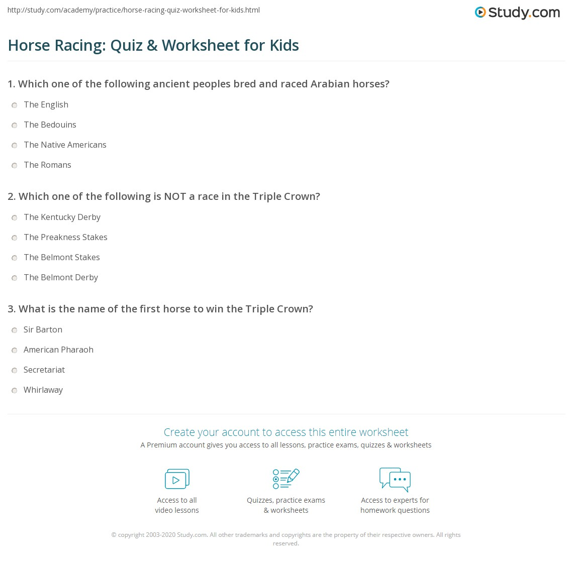 Horse Racing Quiz Amp Worksheet For Kids