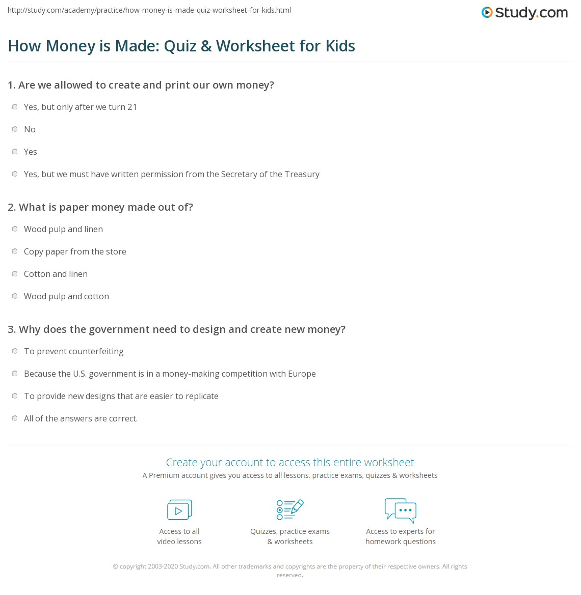 How Money Is Made Quiz Amp Worksheet For Kids