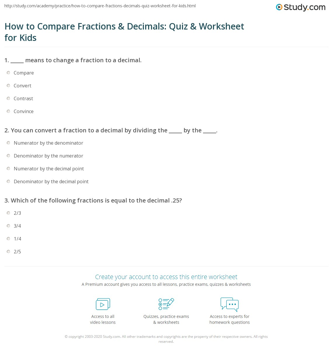 How To Compare Fractions Amp Decimals Quiz Amp Worksheet For