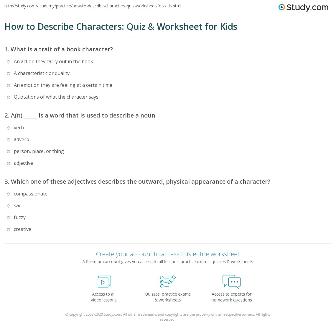 How To Describe Characters Quiz Amp Worksheet For Kids