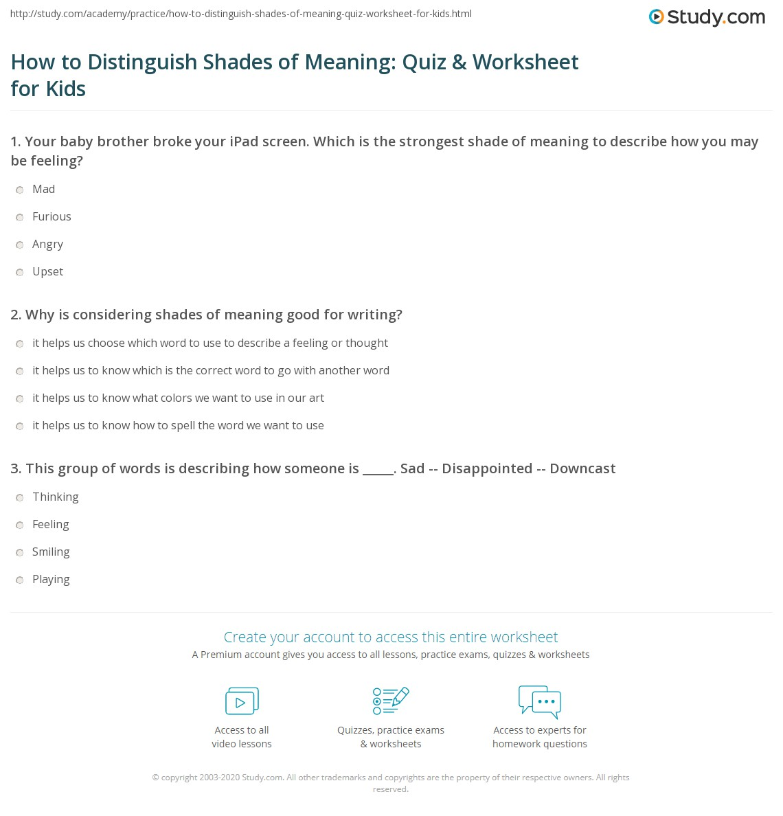 How To Distinguish Shades Of Meaning Quiz Amp Worksheet For