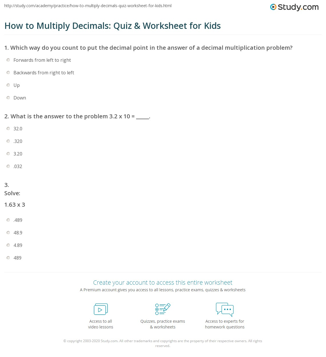 How To Multiply Decimals Quiz Amp Worksheet For Kids