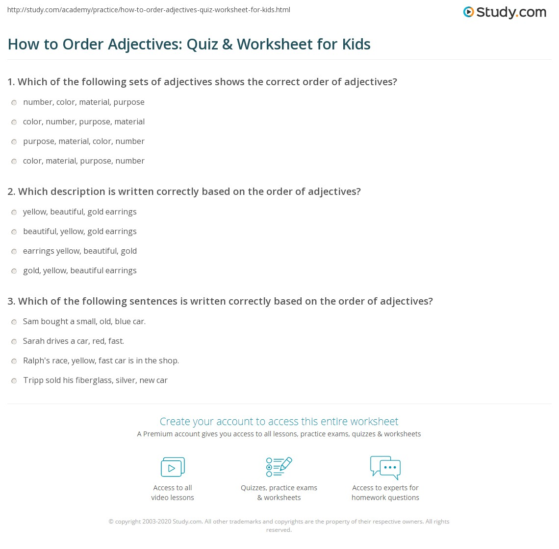How To Order Adjectives Quiz Amp Worksheet For Kids