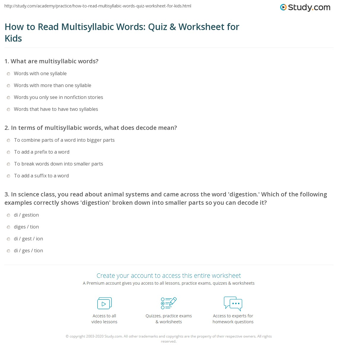 How To Read Multisyllabic Words Quiz Amp Worksheet For Kids