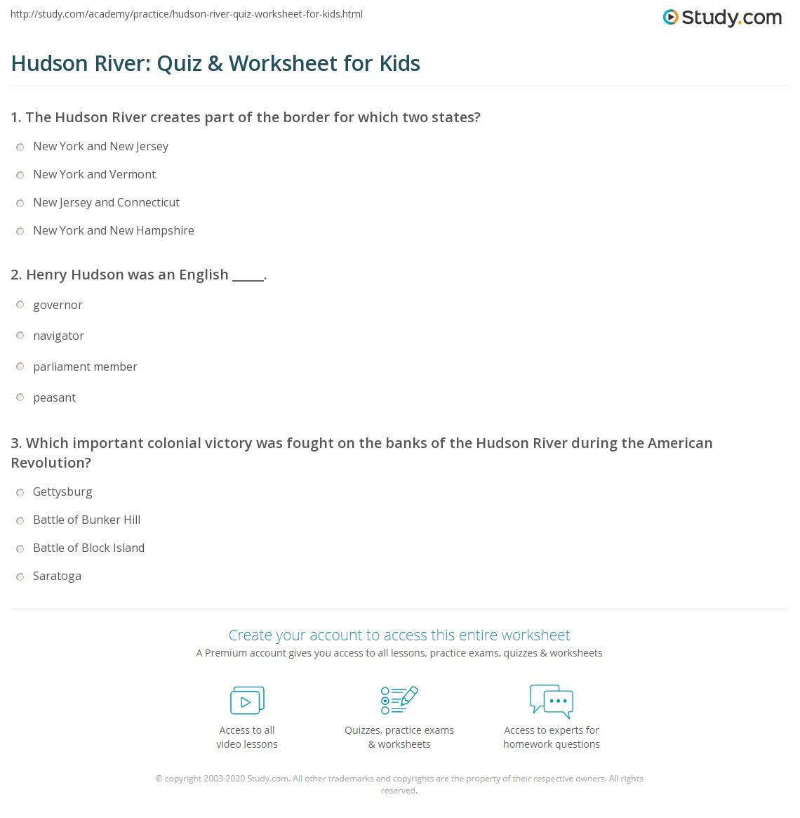 Hudson River Quiz Amp Worksheet For Kids