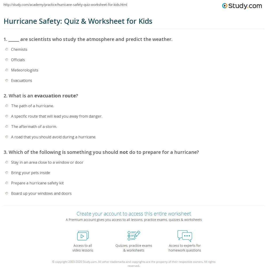 Hurricane Safety Quiz Amp Worksheet For Kids