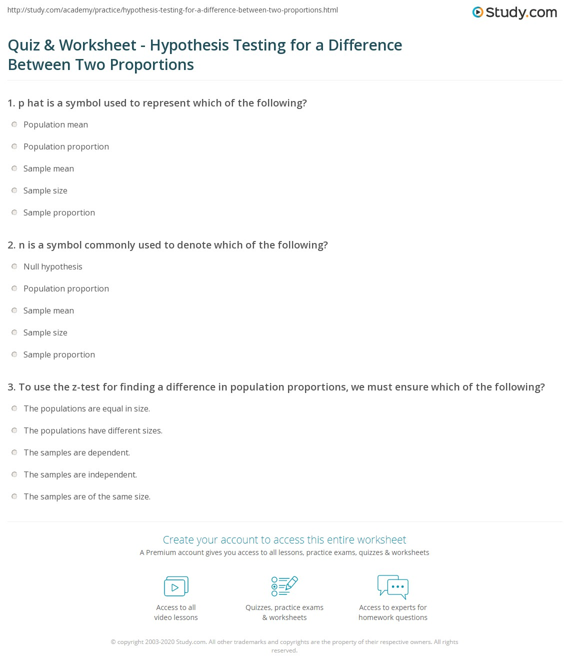 Worksheet For Hypothesis Testing