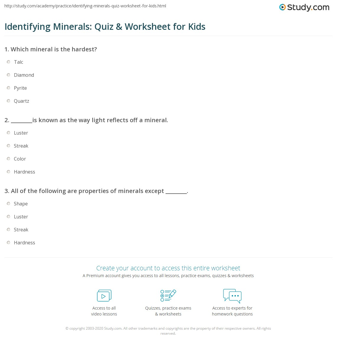 Identifying Minerals Quiz Amp Worksheet For Kids