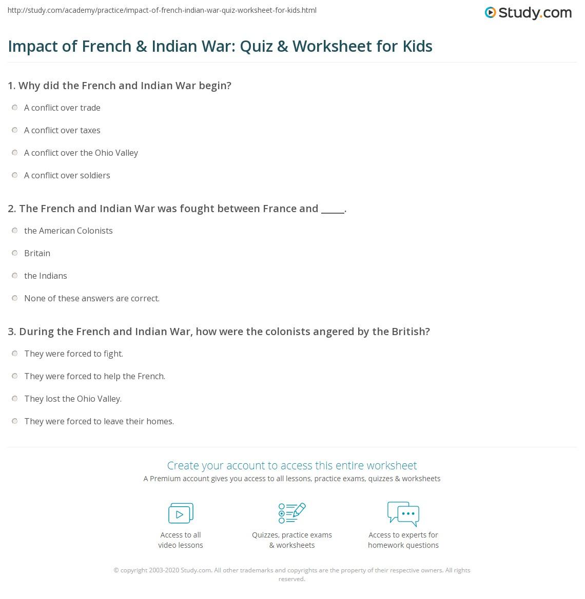 Impact Of French Amp Indian War Quiz Amp Worksheet For Kids
