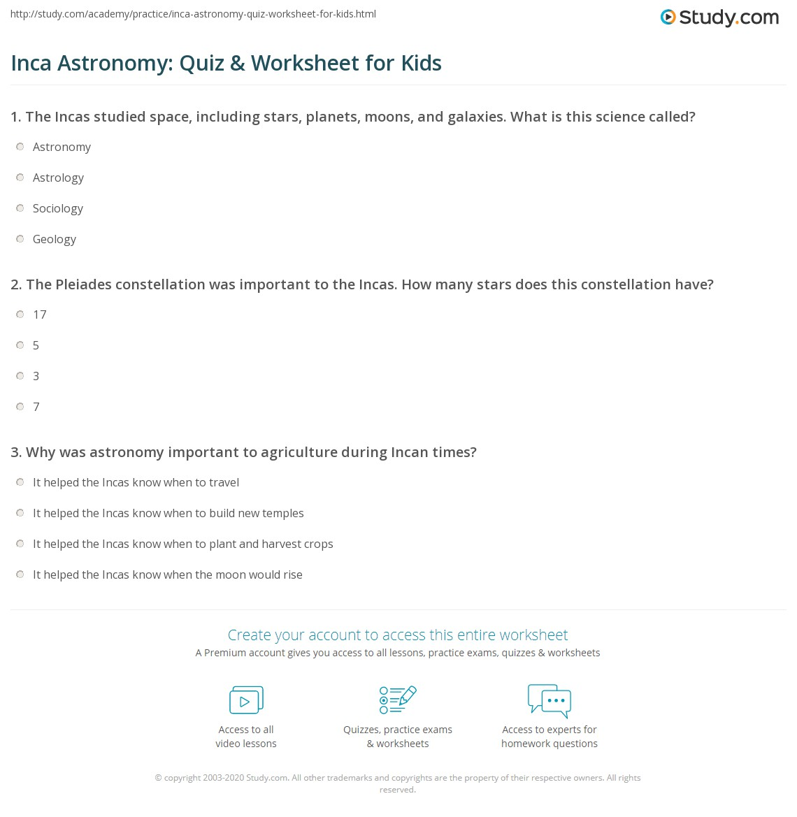 Inca Astronomy Quiz Amp Worksheet For Kids