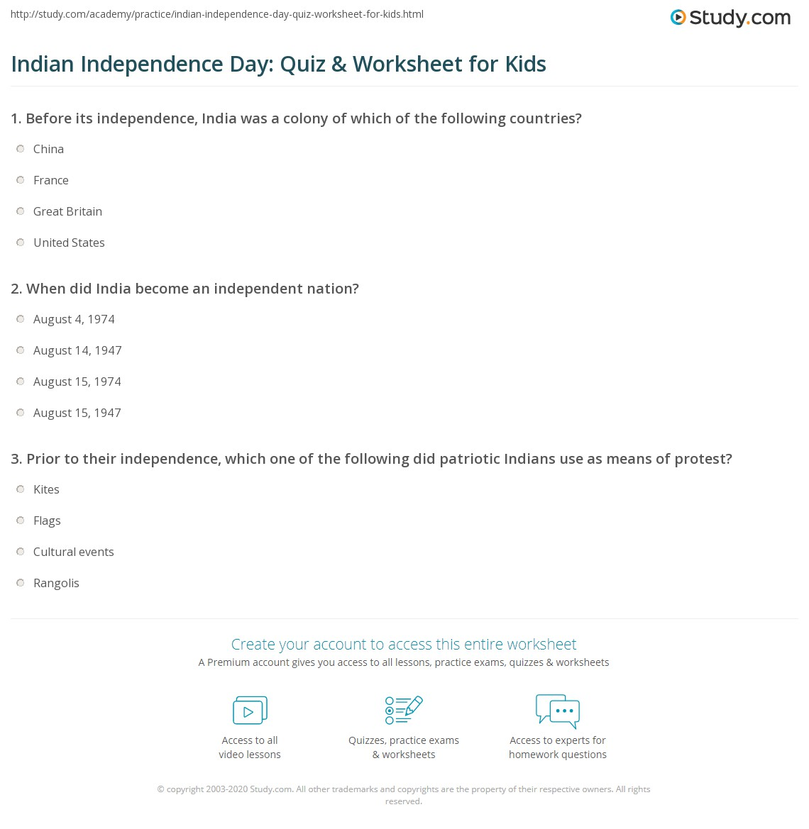 Indian Independence Day Quiz Amp Worksheet For Kids