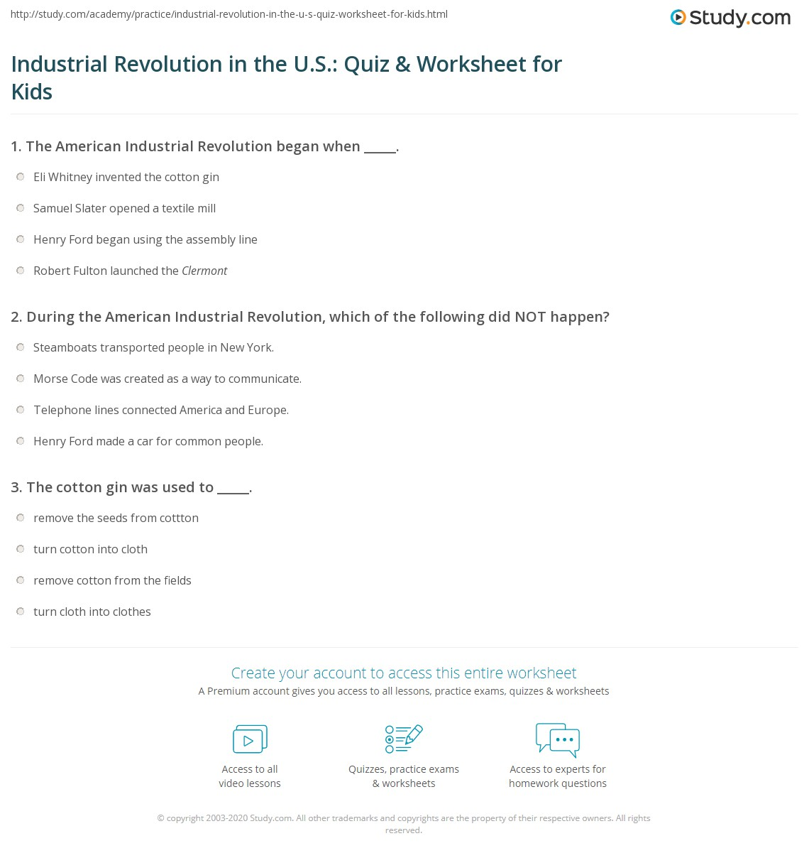 Industrial Revolution In The U S Quiz Amp Worksheet For