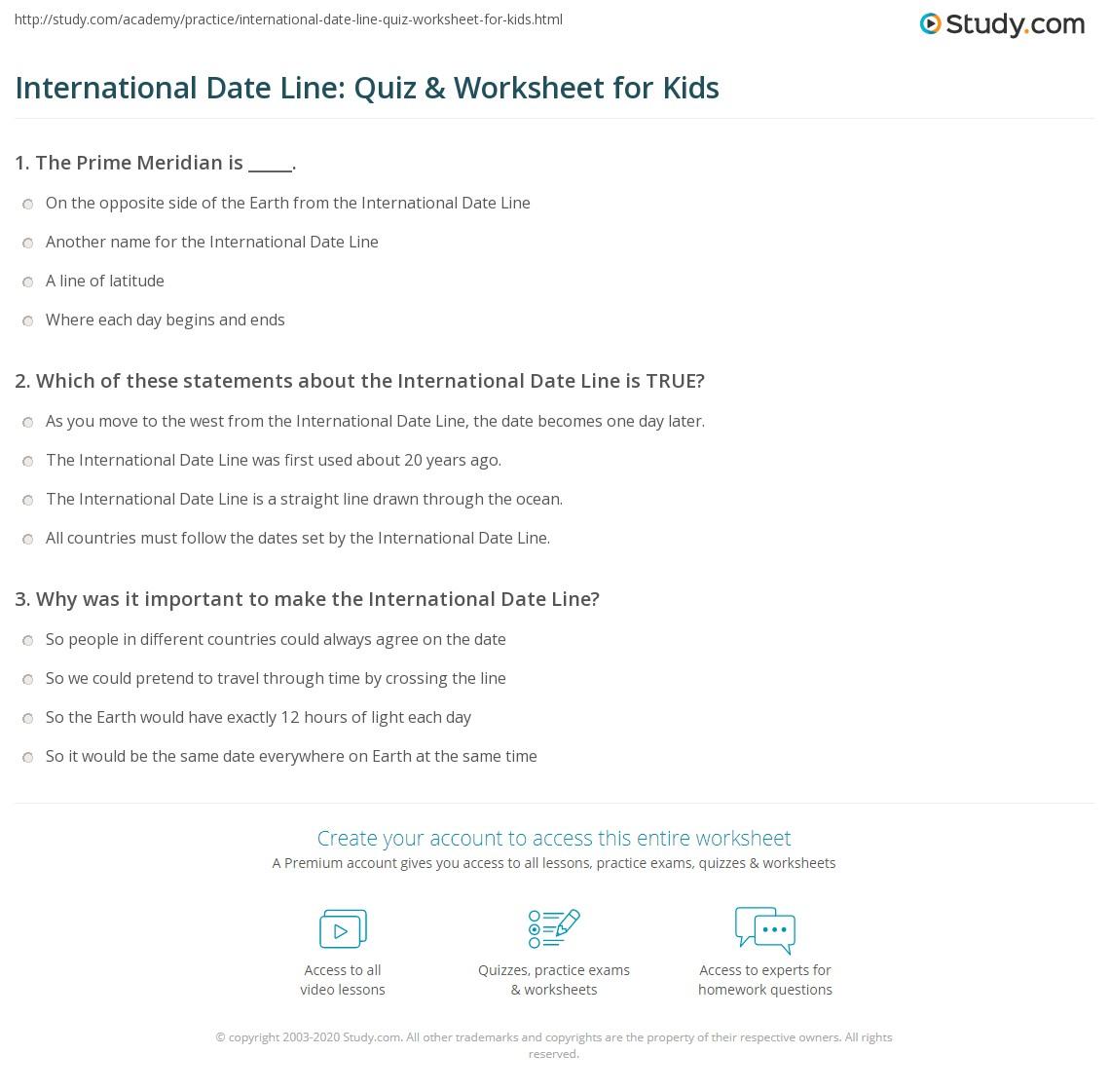 International Date Line Quiz Amp Worksheet For Kids