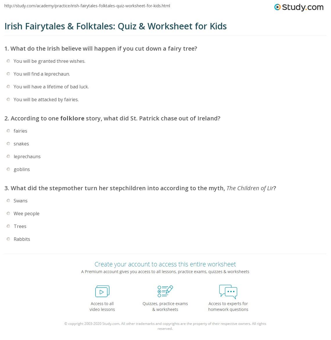 Irish Fairytales Amp Folktales Quiz Amp Worksheet For Kids