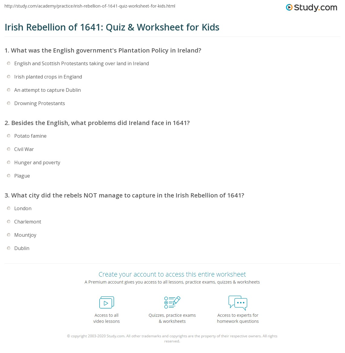 Irish Rebellion Of Quiz Amp Worksheet For Kids