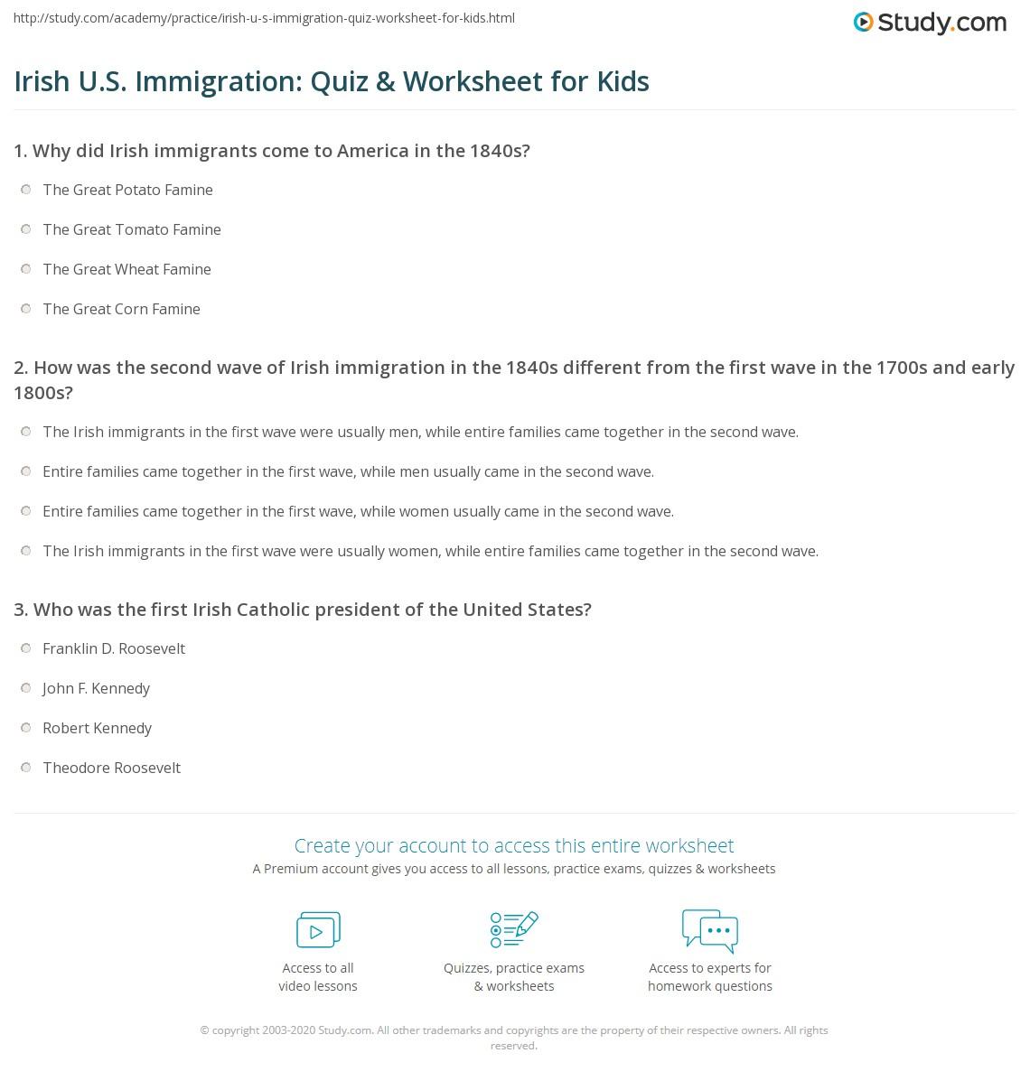 Irish U S Immigration Quiz Amp Worksheet For Kids