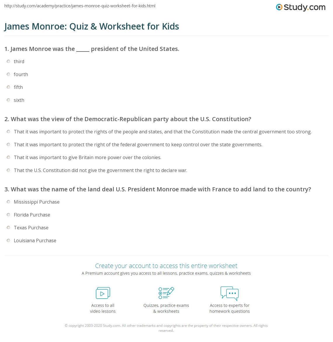 James Monroe Quiz Amp Worksheet For Kids