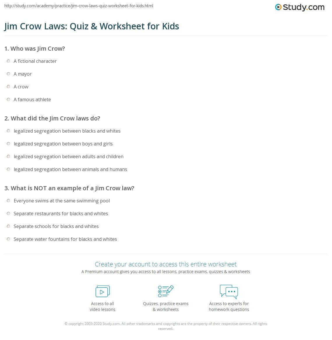 Jim Crow Laws Quiz Amp Worksheet For Kids