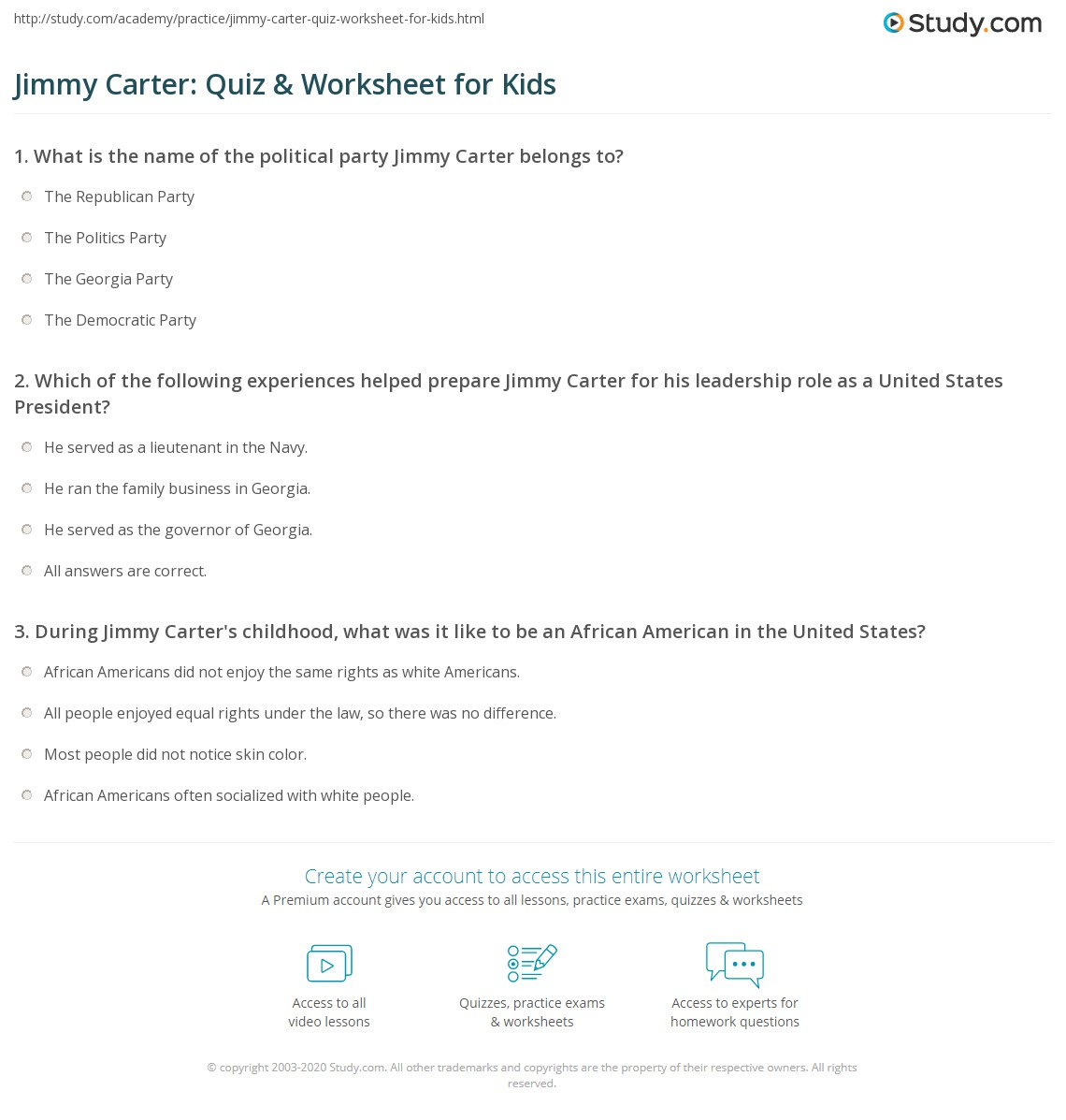 Jimmy Carter Quiz Amp Worksheet For Kids