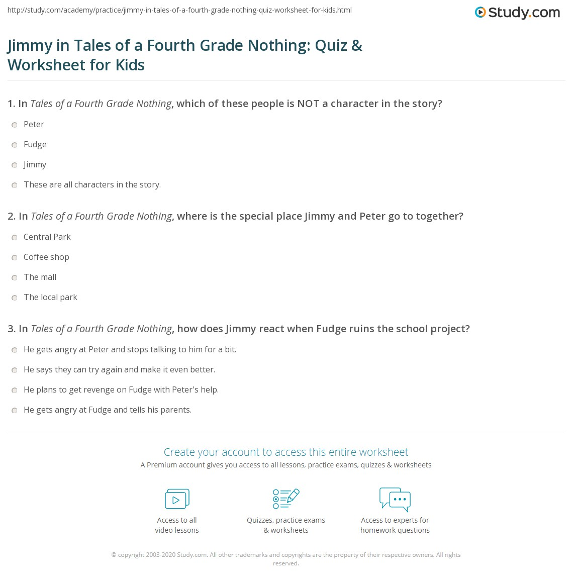 Jimmy In Tales Of A Fourth Grade Nothing Quiz Amp Worksheet