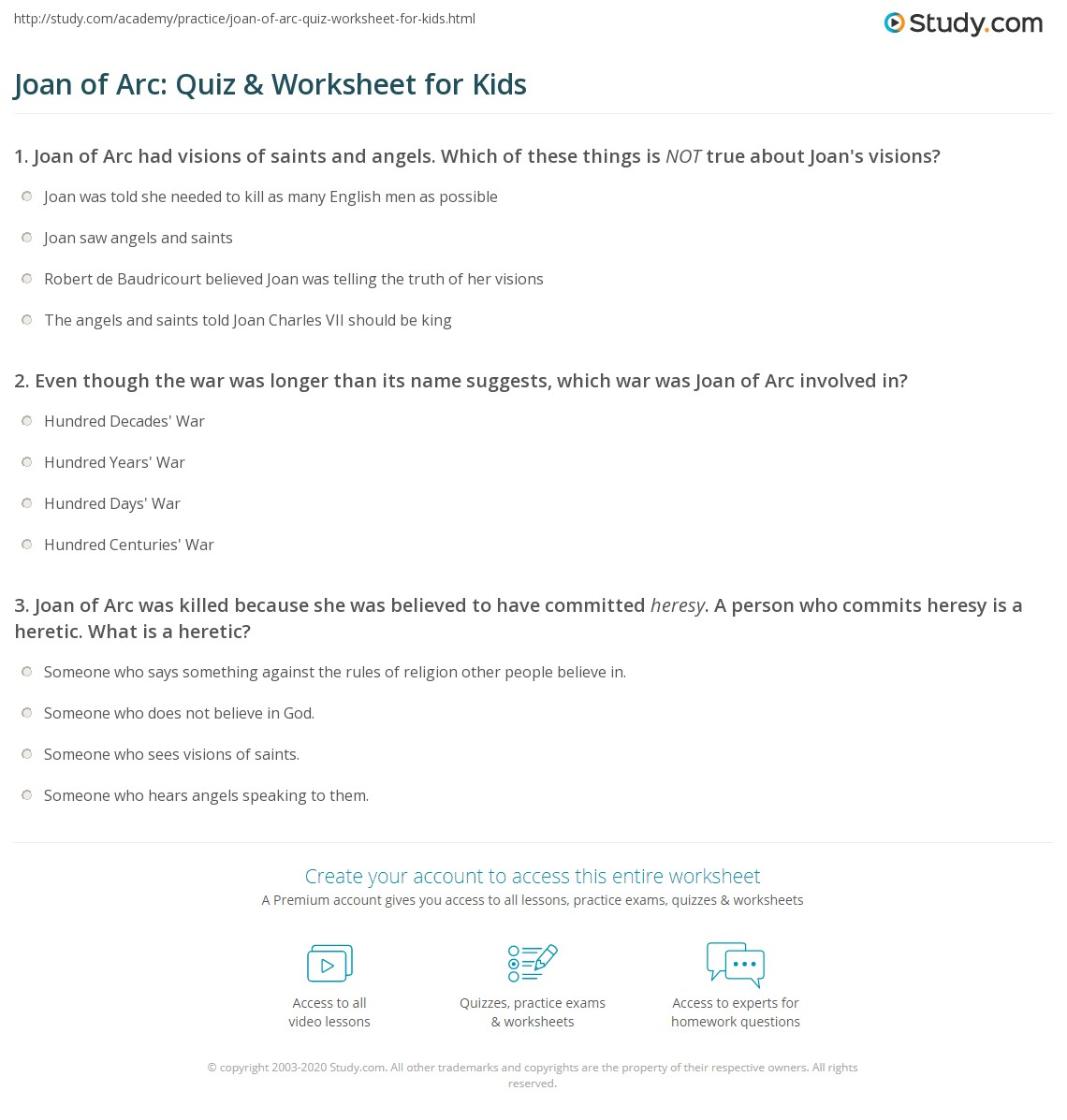 Joan Of Arc Quiz Amp Worksheet For Kids