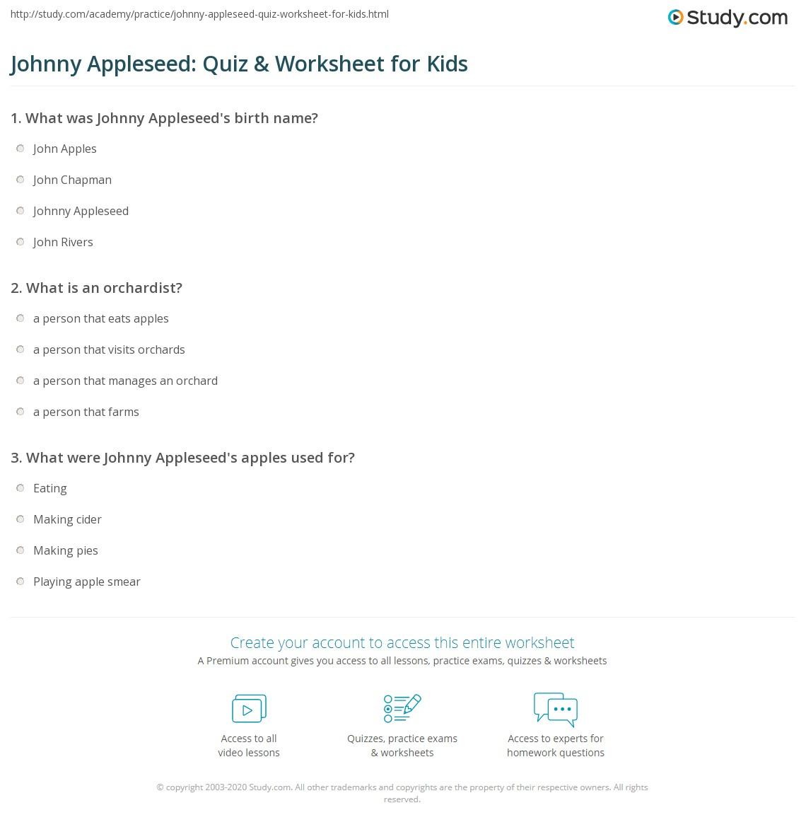 Johnny Appleseed Quiz Amp Worksheet For Kids