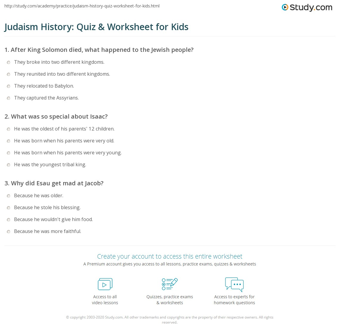Worksheet Judaism