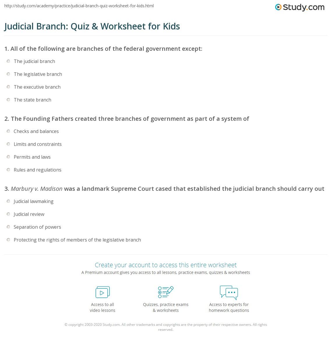 Judicial Branch Quiz Amp Worksheet For Kids
