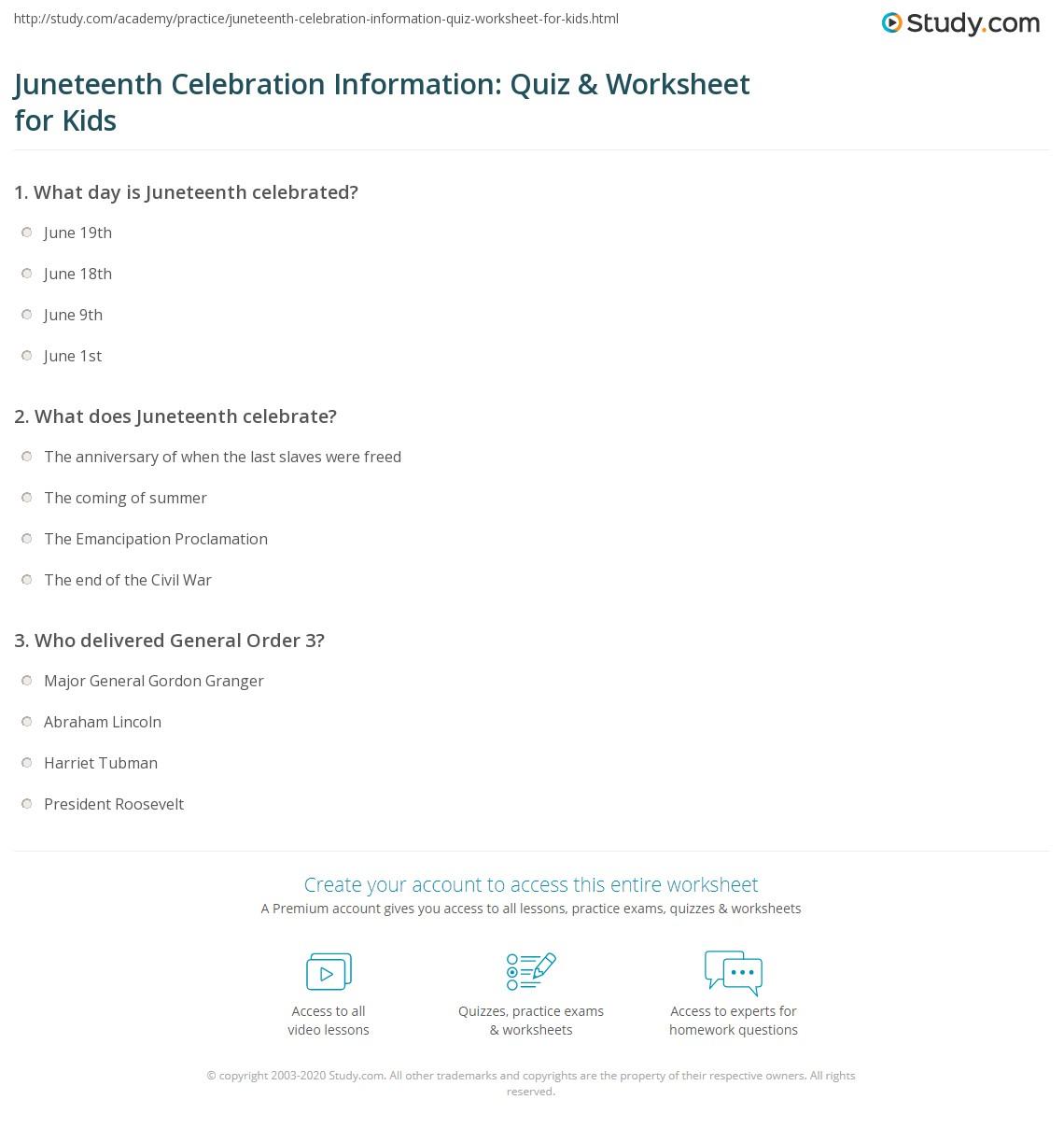 Juneteenth Celebration Information Quiz Amp Worksheet For